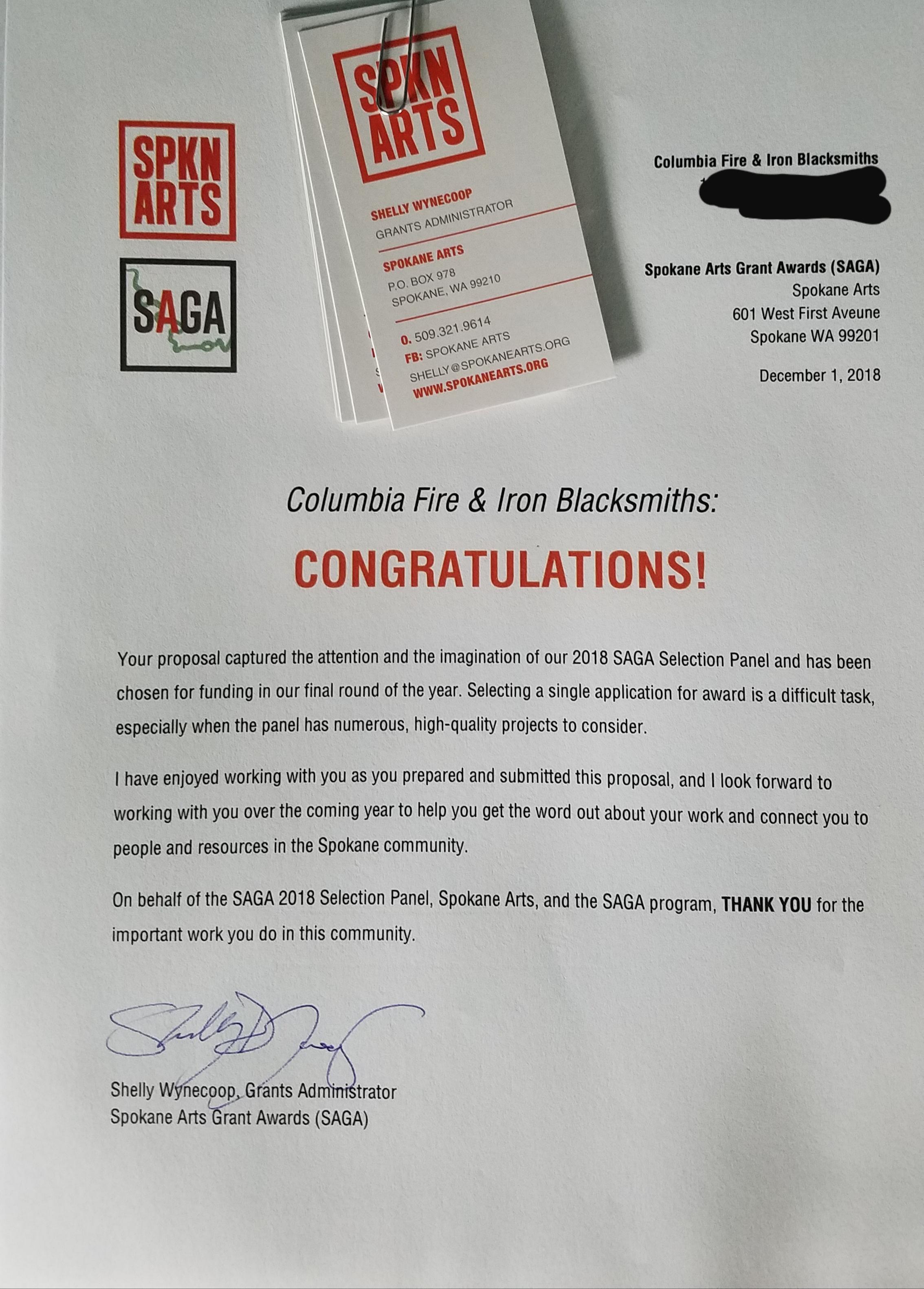 Letter from SAGA
